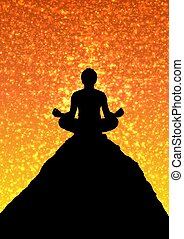 Meditating - Illustration of a person meditating on top of a...