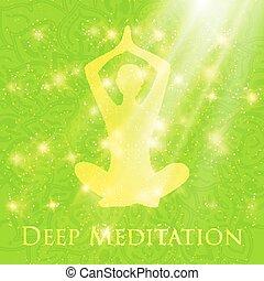 Meditating in crossed-legged yoga lotus pose woman - Yoga...