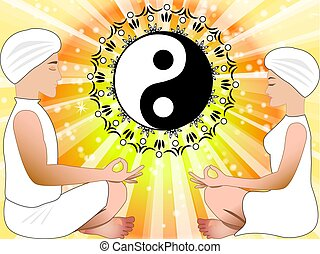 Meditating man and woman with yin yang symbol