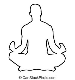Meditating man Practicing yoga symbol icon black color vector illustration flat style image