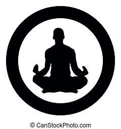 Meditating man Practicing yoga symbol icon black color vector in circle round illustration flat style image