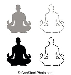 Meditating man Practicing yoga symbol icon set grey black color illustration outline flat style simple image