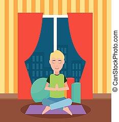Meditating Man Sitting Cross-Legged on Mat Vector - ...