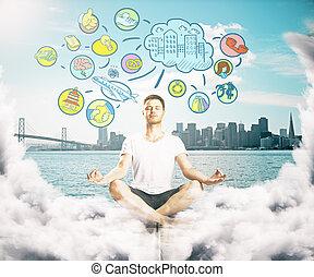Meditating man thinking about life