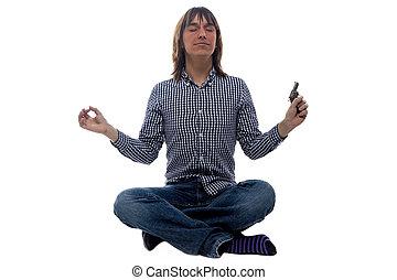Meditating man with the gun