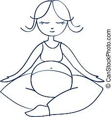meditating mother - vector illustration