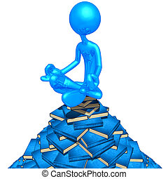 Meditating On A Pile Of Books