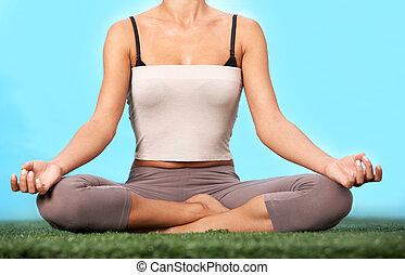Meditating on grass