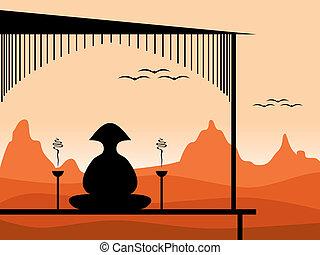 meditating person - illustration of a person meditating at...