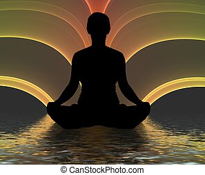 Meditating silhouette - Illustration of a person meditating