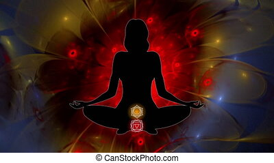Meditating woman enlightenment, lotus and colored chakra symbols, video