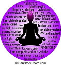 Meditating woman. Sahasrara chakra affirmation.