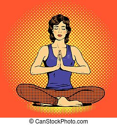 Meditating woman with speech bubble in retro pop art comic style. Mental balance and yoga concept
