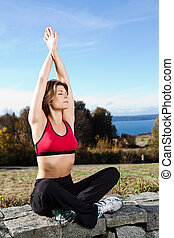 Meditating yoga woman