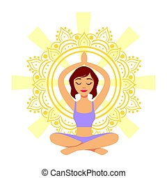girl in meditation yoga pose flat outlined pale color funny drawing