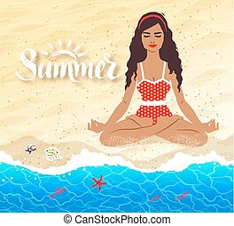 Meditating young woman on beach background