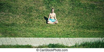 meditating young woman