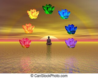 Meditation and chakras - Man in meditation surrounded with ...
