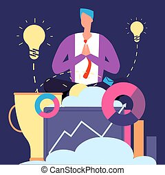 Meditation and ideas concept. Creative businessman relaxing vector illustration