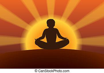 meditation at sunset vector illustration