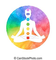 Meditation, aura and chakras. Vector illustration.