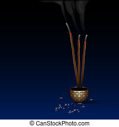 Meditation background with burning incense. Vector eps10