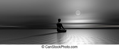 Meditation by night - Man meditating upon the ocean in front...