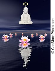 White statue of a Saint Buddha meditating upon the sea and several water lilies by night