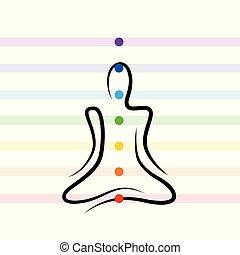 meditation chakra points drawing person