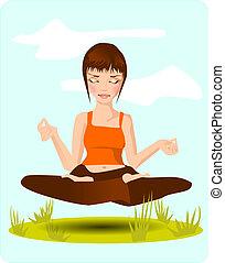 meditation. - Stock Photo: illustration showing a brooding...