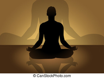 Meditation - A silhouette of female figure doing meditation
