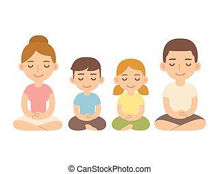 meditation., família, sentando