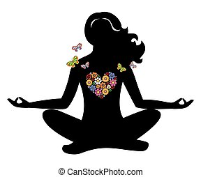 meditation girl flowers - the illustration on the theme of ...