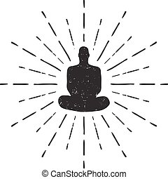 Meditation Human silhouette isolated on white background Vector