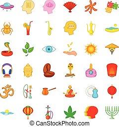 Meditation icons set, cartoon style