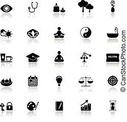 Meditation icons with reflect on white background