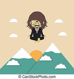 meditation - man fly above mountain, medition, metaphor...