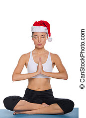 Meditation in a cap of Santa Claus
