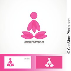 Meditation lotus flower logo yoga icon