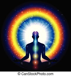Meditation Man Chakra - Man Silhouette Meditation chakra and...