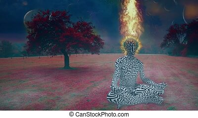 Man with burning halo meditates in lotus pose. Endless dimensions in the sky above surreal landscape