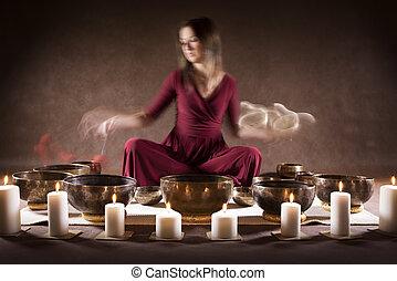 meditation, mit, tibetanisch, singende, schüsseln