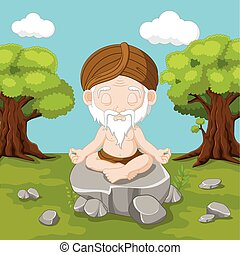 Meditation old man sitting in lotus position
