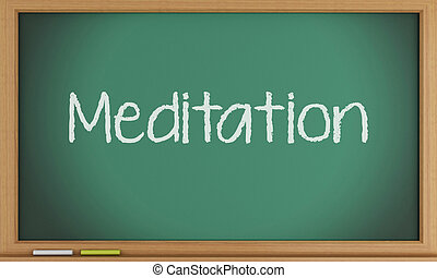 Meditation on blackboard background.