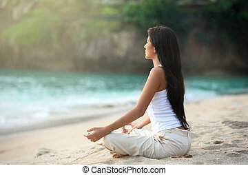 Outdoor meditation by the beach