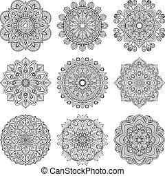Satz Gold Mandalas Indische Meditation Wedding Zeichnung