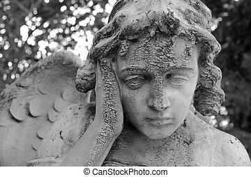 meditation - pensive angelic figure, sculpture on Monumental...
