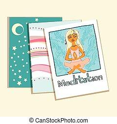 Meditation. set of greeting cards