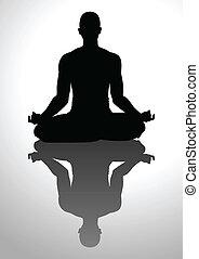 Meditation - Silhouette illustration of a man figure...