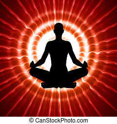 meditation - silhouette in yoga pose over abstract ...